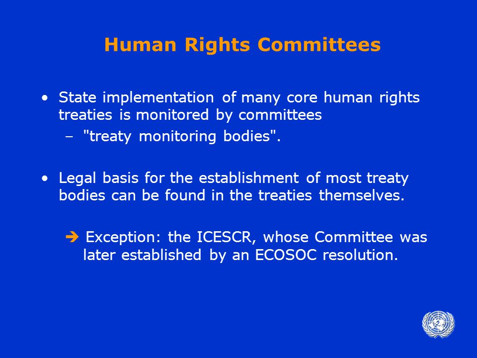 Human Rights Treaty Reporting Problems Complexity of human rights system + burden of reporting obligations –Strains resources of Member States and of Secretariat –Benefits of current system not always clear Current structure of human rights committees imposes difficult reporting demands on treaty parties.