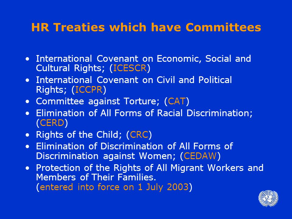 Composition of Committee Treaty bodies are composed of independent experts of recognized competence in the field of human rights who are elected by States parties.