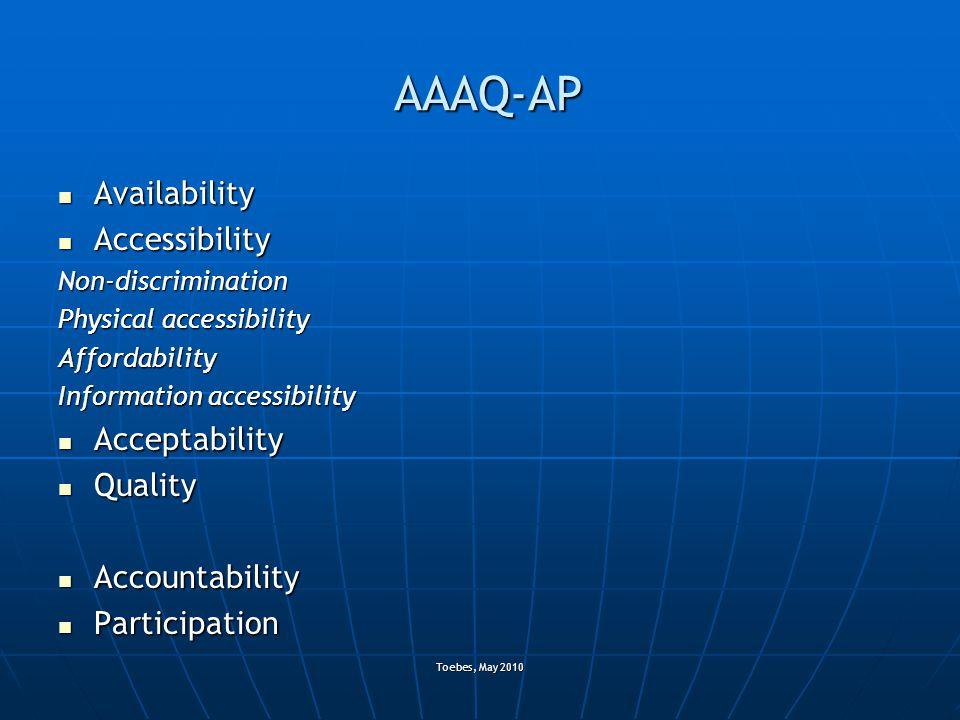 Toebes, May 2010 AAAQ-AP Availability Availability Accessibility AccessibilityNon-discrimination Physical accessibility Affordability Information acce