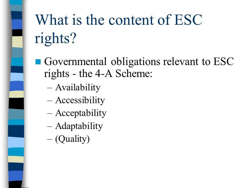 What is the content of ESC rights? Governmental obligations relevant to ESC rights - the 4-A Scheme: –Availability –Accessibility –Acceptability –Adap