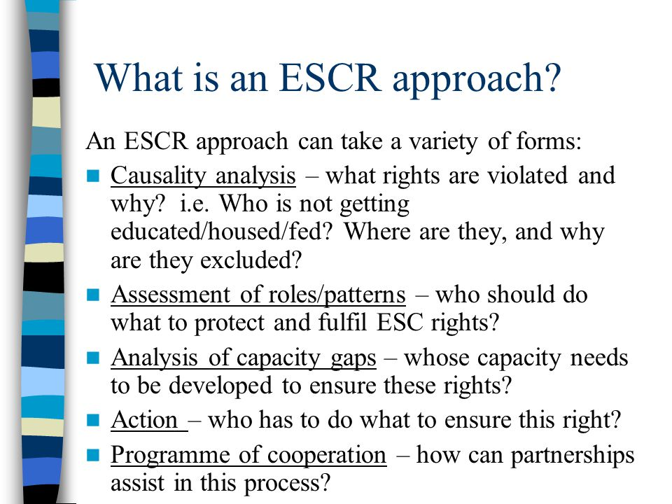 What is an ESCR approach? An ESCR approach can take a variety of forms: Causality analysis – what rights are violated and why? i.e. Who is not getting