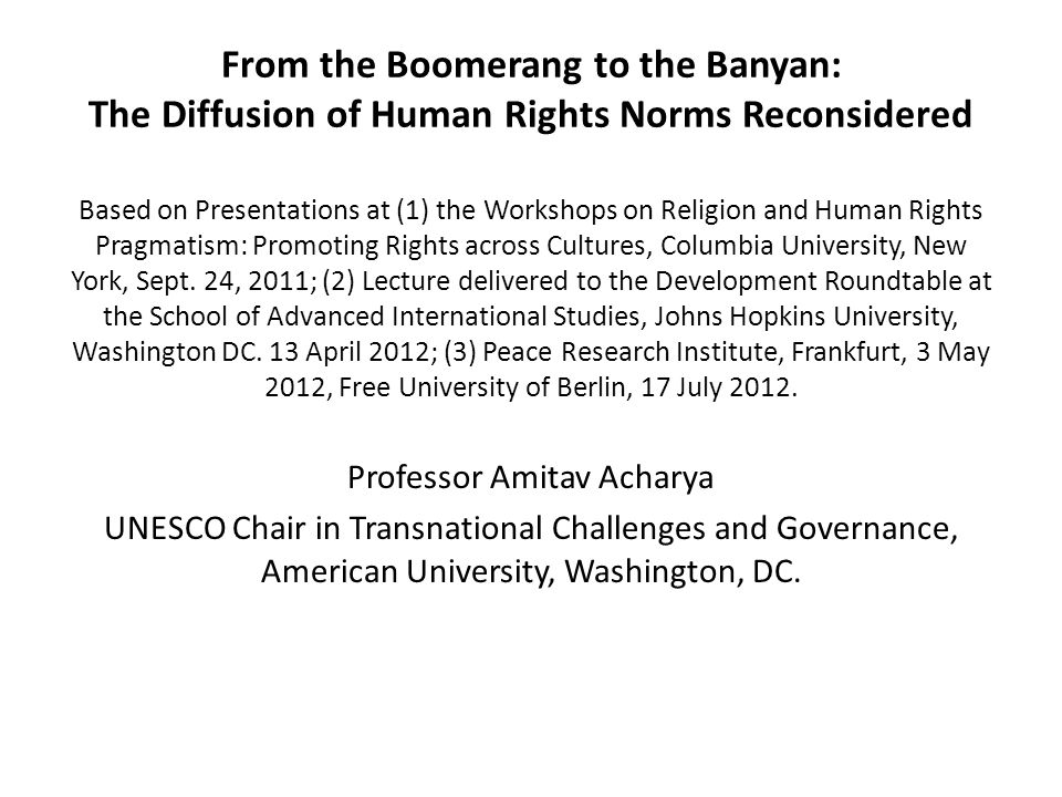 Human Rights Approach An inclusive, rather than adversarial approach.