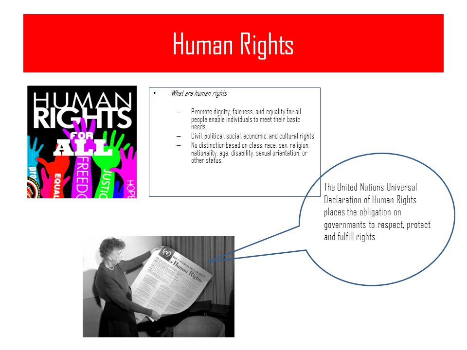 Human Rights What are human rights – Promote dignity, fairness, and equality for all people enable individuals to meet their basic needs.