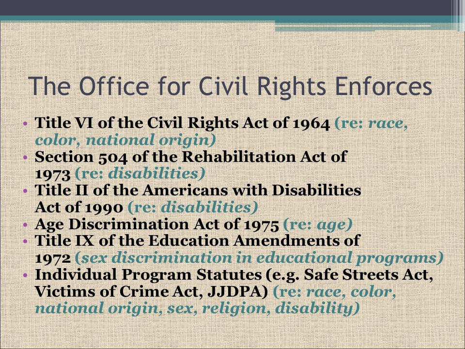 Federal Office of Justice Programs Civil Rights Enforcement Equal Employment Opportunity Plans (EEOP) Complaints Findings Compliance Reviews