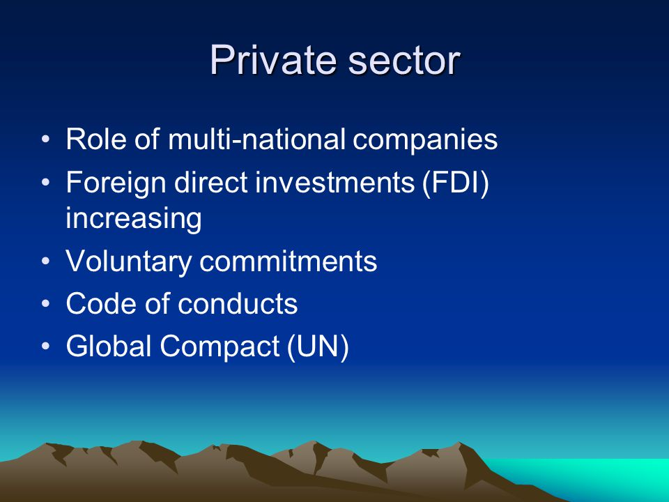 Private sector Role of multi-national companies Foreign direct investments (FDI) increasing Voluntary commitments Code of conducts Global Compact (UN)