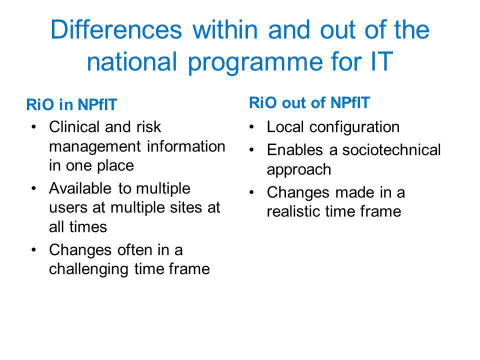 Differences within and out of the national programme for IT RiO in NPfIT Clinical and risk management information in one place Available to multiple users at multiple sites at all times Changes often in a challenging time frame RiO out of NPfIT Local configuration Enables a sociotechnical approach Changes made in a realistic time frame