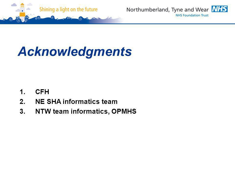 Acknowledgments 1.CFH 2.NE SHA informatics team 3.NTW team informatics, OPMHS