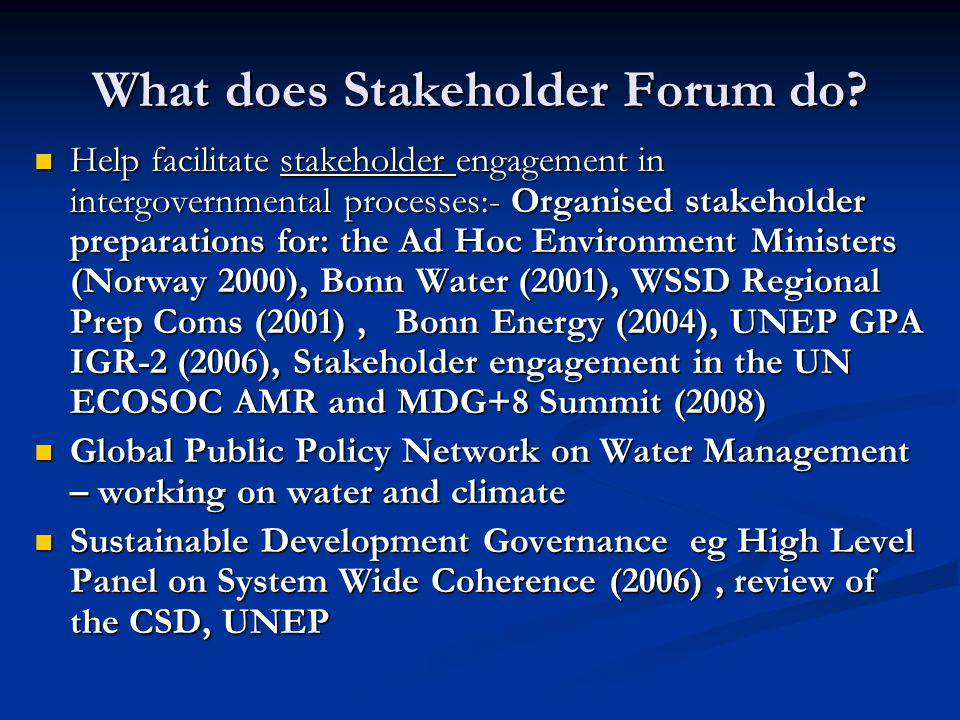 What does Stakeholder Forum do.