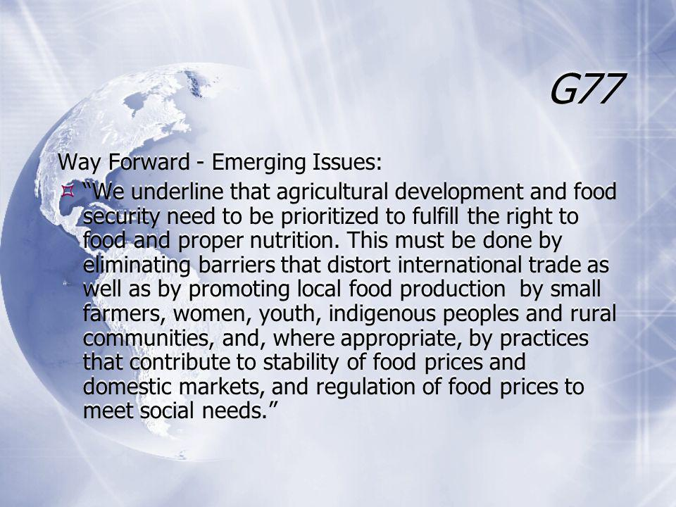 G77 Way Forward - Emerging Issues:  We underline that agricultural development and food security need to be prioritized to fulfill the right to food and proper nutrition.