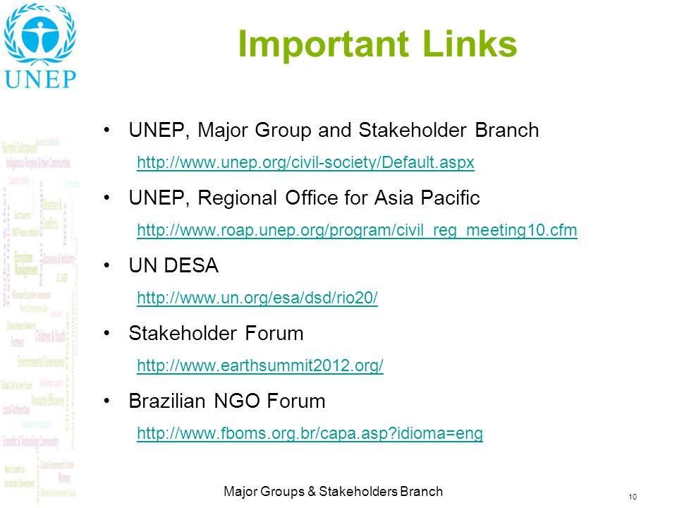 10 Major Groups & Stakeholders Branch Important Links UNEP, Major Group and Stakeholder Branch http://www.unep.org/civil-society/Default.aspx UNEP, Regional Office for Asia Pacific http://www.roap.unep.org/program/civil_reg_meeting10.cfm UN DESA http://www.un.org/esa/dsd/rio20/ Stakeholder Forum http://www.earthsummit2012.org/ Brazilian NGO Forum http://www.fboms.org.br/capa.asp?idioma=eng