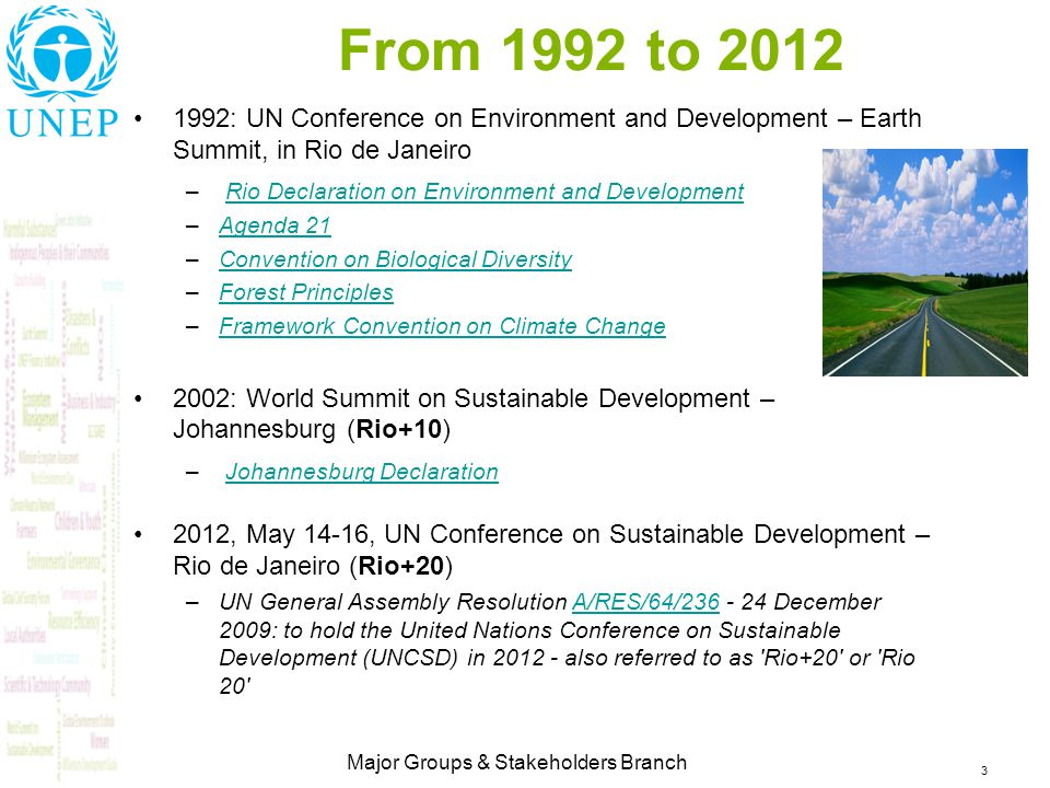 3 Major Groups & Stakeholders Branch From 1992 to 2012 1992: UN Conference on Environment and Development – Earth Summit, in Rio de Janeiro – Rio Declaration on Environment and DevelopmentRio Declaration on Environment and Development –Agenda 21Agenda 21 –Convention on Biological DiversityConvention on Biological Diversity –Forest PrinciplesForest Principles –Framework Convention on Climate ChangeFramework Convention on Climate Change 2002: World Summit on Sustainable Development – Johannesburg (Rio+10) – Johannesburg DeclarationJohannesburg Declaration 2012, May 14-16, UN Conference on Sustainable Development – Rio de Janeiro (Rio+20) –UN General Assembly Resolution A/RES/64/236 - 24 December 2009: to hold the United Nations Conference on Sustainable Development (UNCSD) in 2012 - also referred to as Rio+20 or Rio 20 A/RES/64/236