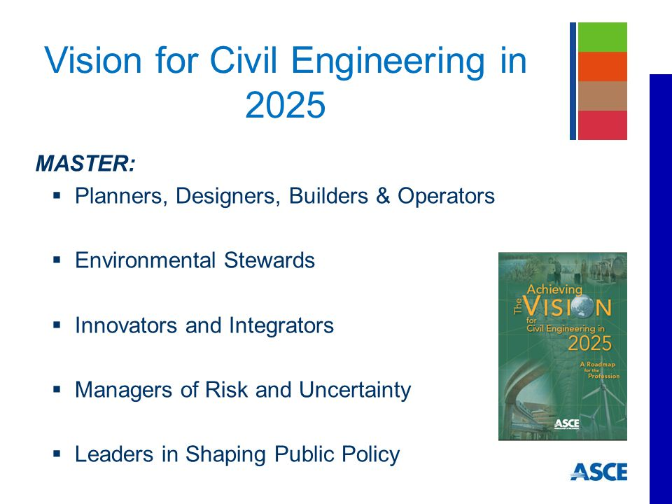 MASTER:  Planners, Designers, Builders & Operators  Environmental Stewards  Innovators and Integrators  Managers of Risk and Uncertainty  Leaders in Shaping Public Policy Vision for Civil Engineering in 2025