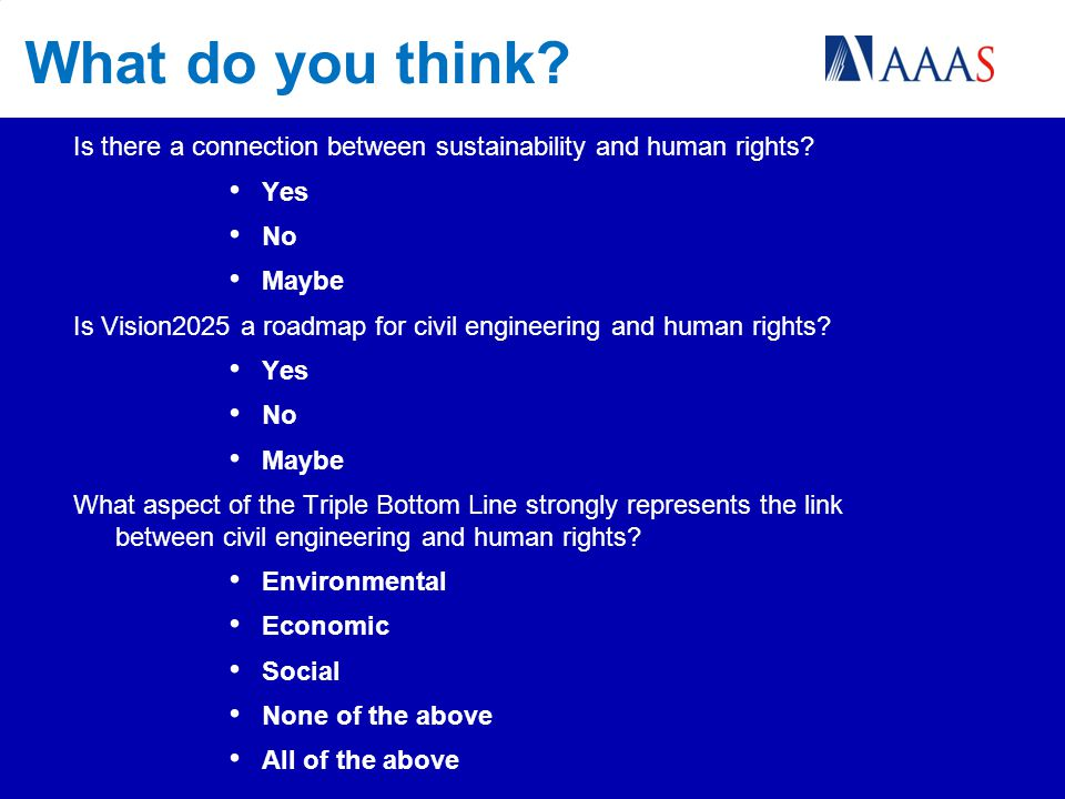 What do you think.Is there a connection between sustainability and human rights.