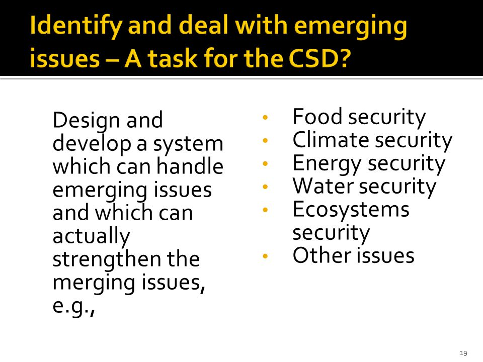 Design and develop a system which can handle emerging issues and which can actually strengthen the merging issues, e.g., Food security Climate security Energy security Water security Ecosystems security Other issues 19