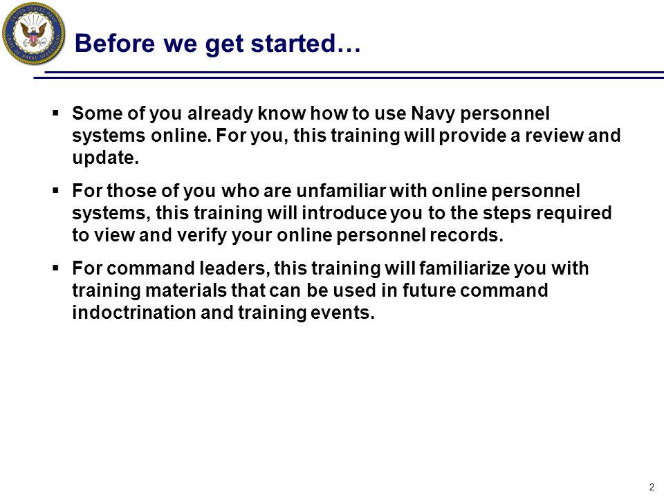Action: Verify Training Summary 23 Training Summary includes Civilian education, Navy training, Navy eLearning courses, Certifications, PQS, etc.
