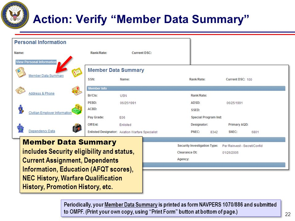 "Action: Verify ""Member Data Summary"" 22 Periodically, your Member Data Summary is printed as form NAVPERS 1070/886 and submitted to OMPF. (Print your"