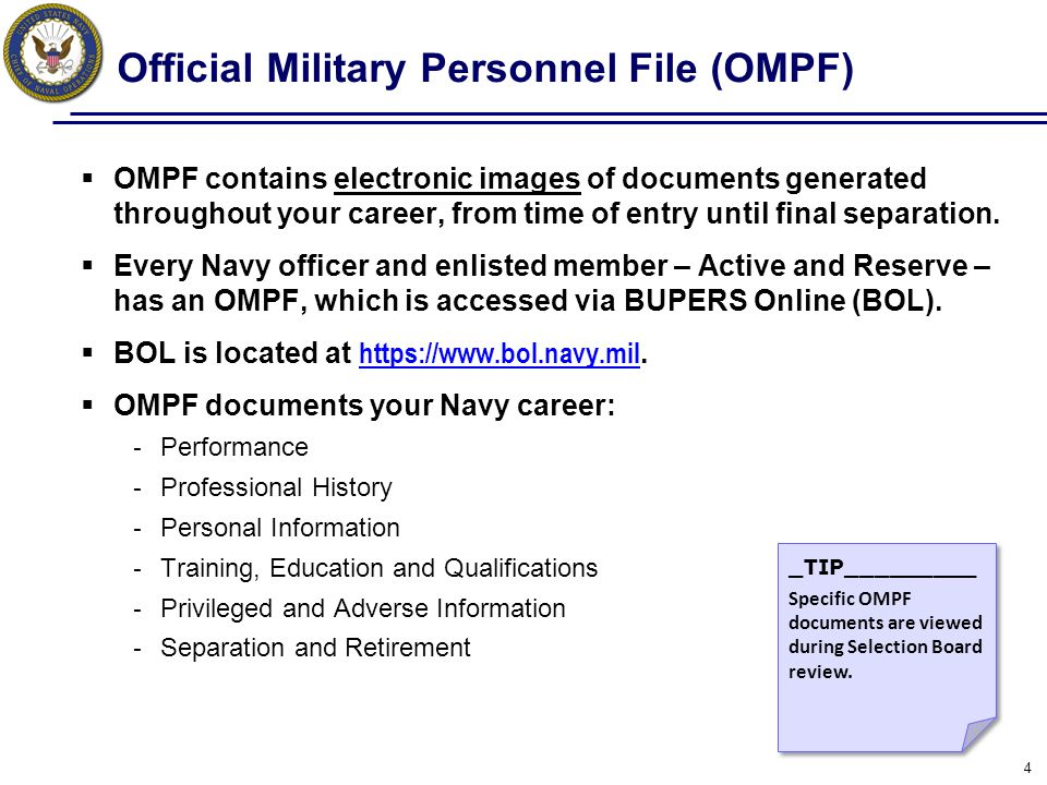 Action: Review OMPF Routinely  Verify 6 months prior to Selection Board review (this should provide sufficient time to resolve any issues).
