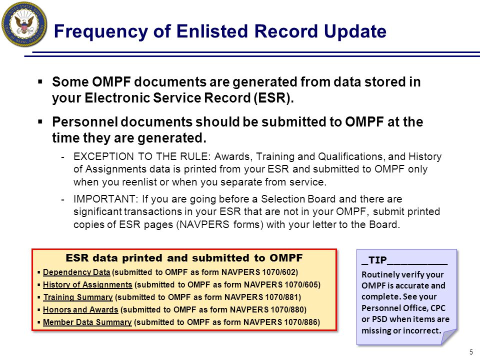 Action: Access your OMPF  You have automatic access to your OMPF.
