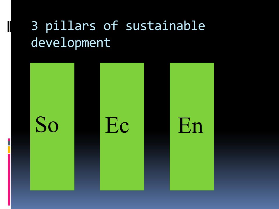 3 pillars of sustainable development So Ec En