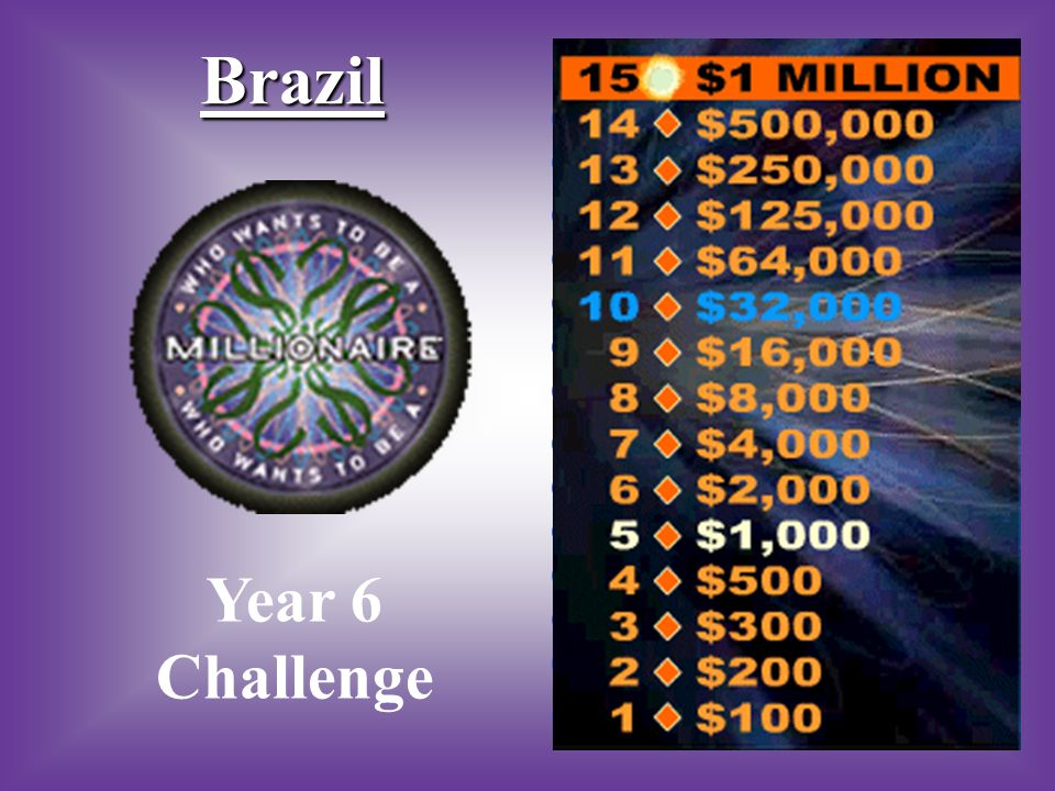 A:B: BraziliaRio de Janeiro #4 What is the capital city of Brazil? C:D: BraziliomBras