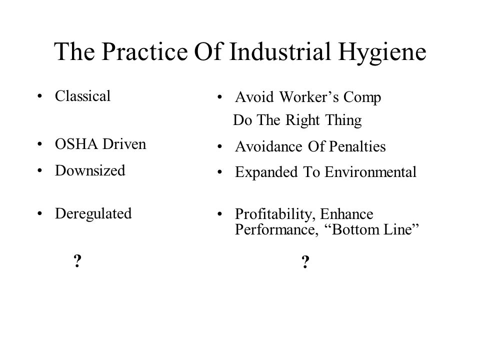 The Practice Of Industrial Hygiene Classical OSHA Driven Downsized Deregulated .