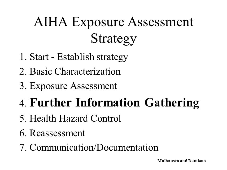 AIHA Exposure Assessment Strategy 1. Start - Establish strategy 2.
