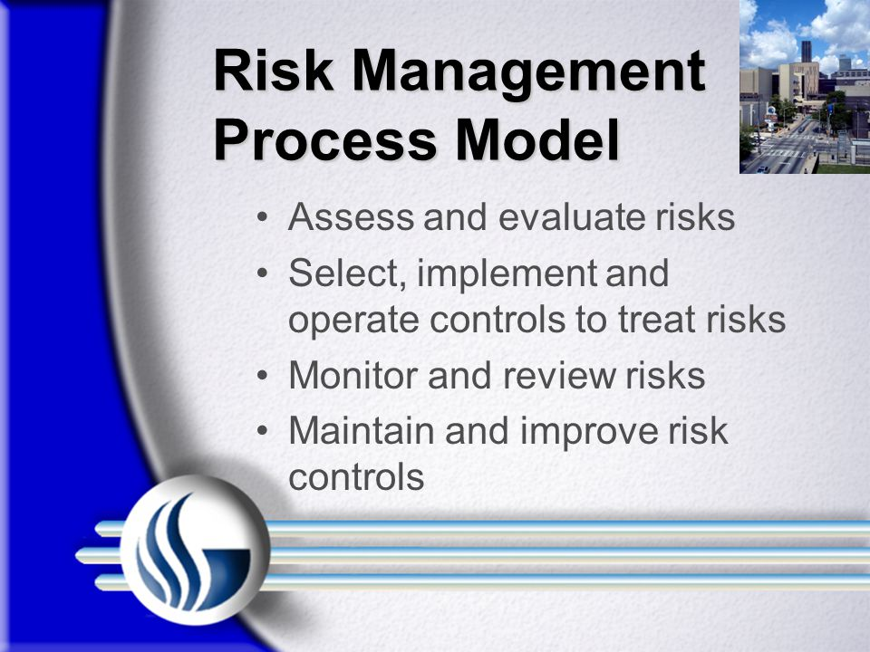 Risk Management Process Model Assess and evaluate risks Select, implement and operate controls to treat risks Monitor and review risks Maintain and improve risk controls