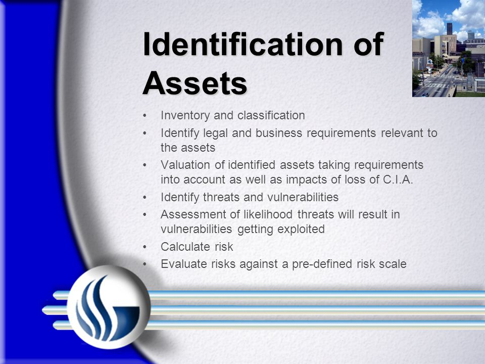 Identification of Assets Inventory and classification Identify legal and business requirements relevant to the assets Valuation of identified assets taking requirements into account as well as impacts of loss of C.I.A.