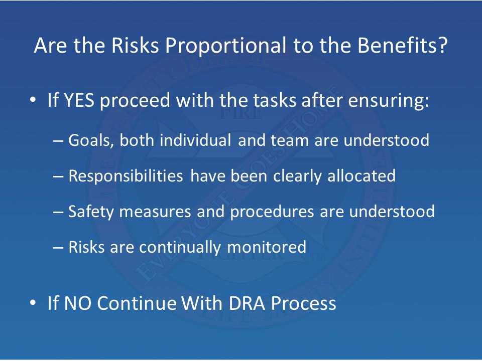 Are the Risks Proportional to the Benefits? If YES proceed with the tasks after ensuring: – Goals, both individual and team are understood – Responsib