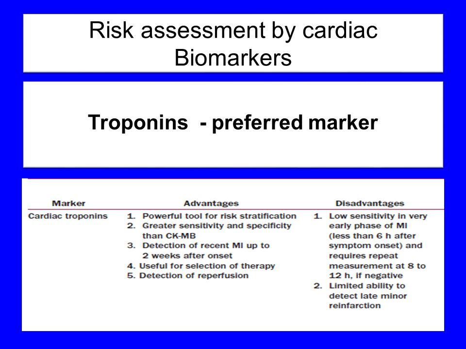 Risk assessment by cardiac Biomarkers Troponins - preferred marker Troponins - preferred marker