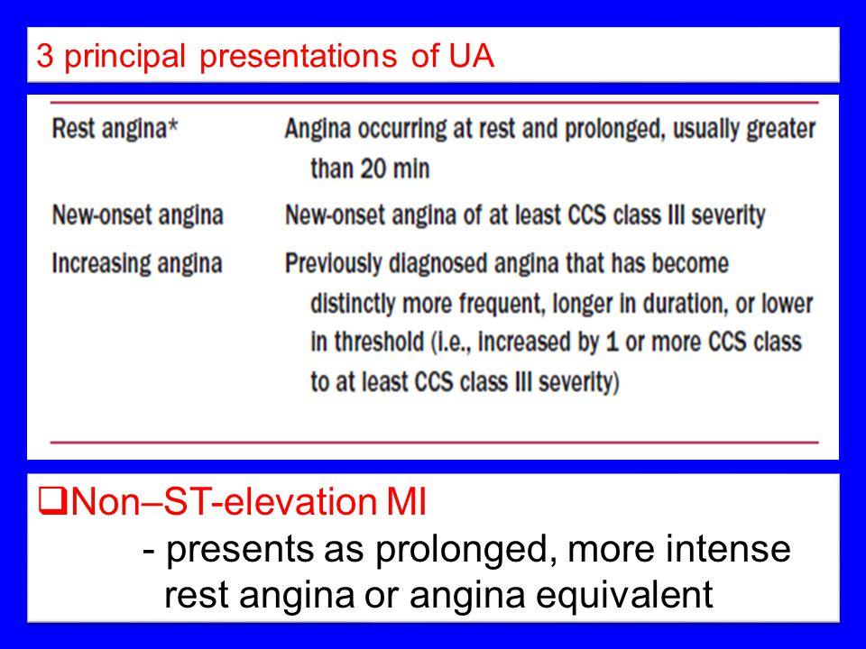 3 principal presentations of UA  Non–ST-elevation MI - presents as prolonged, more intense rest angina or angina equivalent  Non–ST-elevation MI - p