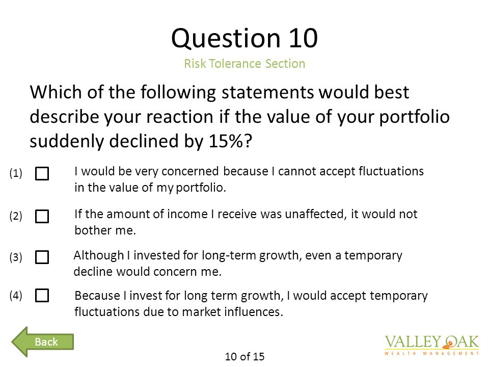 Question 10 Risk Tolerance Section Which of the following statements would best describe your reaction if the value of your portfolio suddenly declined by 15%.