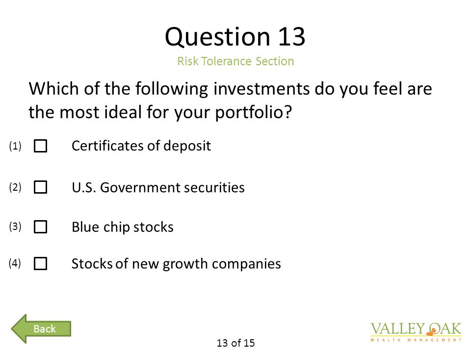 Question 13 Risk Tolerance Section Which of the following investments do you feel are the most ideal for your portfolio.