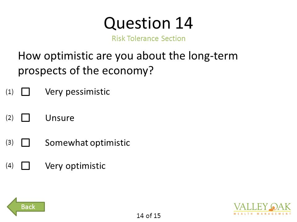 Question 14 Risk Tolerance Section How optimistic are you about the long-term prospects of the economy.