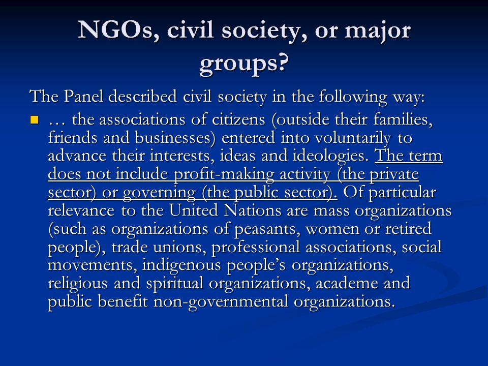 NGOs, civil society, or major groups.