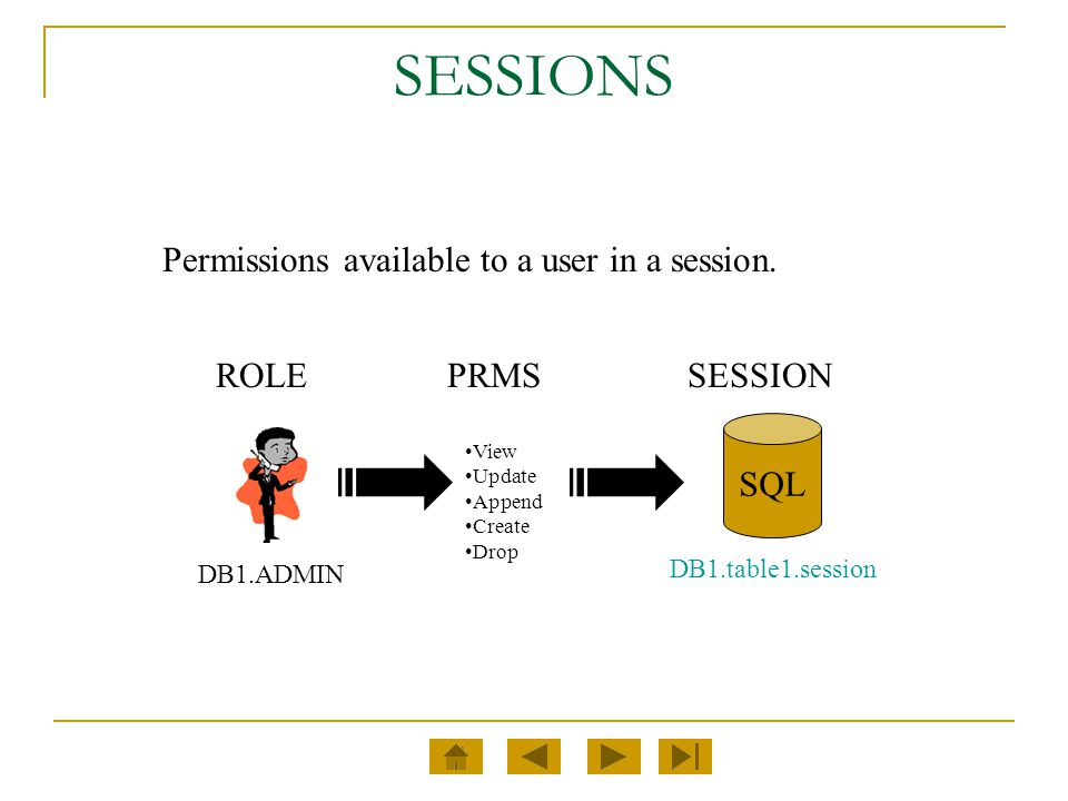 SESSIONS Permissions available to a user in a session. DB1.ADMIN View Update Append Create Drop SQL DB1.table1.session PRMSROLESESSION