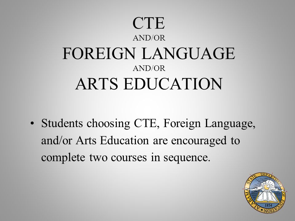CTE AND/OR FOREIGN LANGUAGE AND/OR ARTS EDUCATION Students choosing CTE, Foreign Language, and/or Arts Education are encouraged to complete two courses in sequence.