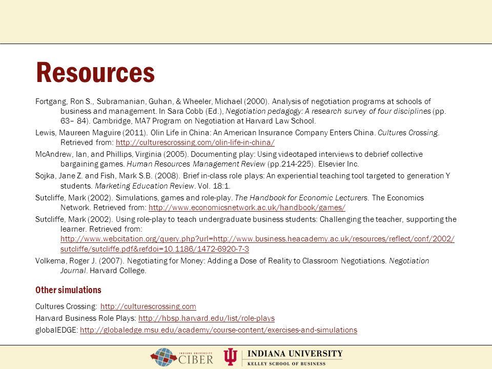 P. Roberto GarciaFeb. 2, 2007School of Education Breeze Workshop Resources Fortgang, Ron S., Subramanian, Guhan, & Wheeler, Michael (2000). Analysis o