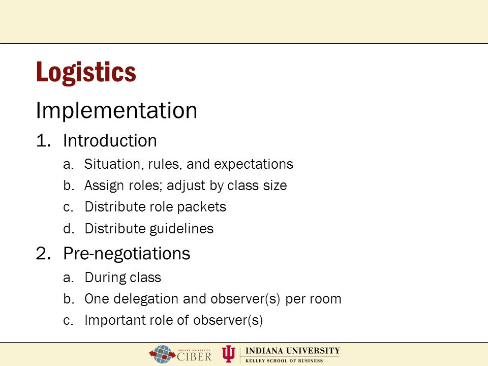P. Roberto GarciaFeb. 2, 2007School of Education Breeze Workshop Logistics Implementation 1.Introduction a.Situation, rules, and expectations b.Assign