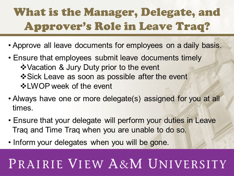 What is the Manager, Delegate, and Approver's Role in Leave Traq?.