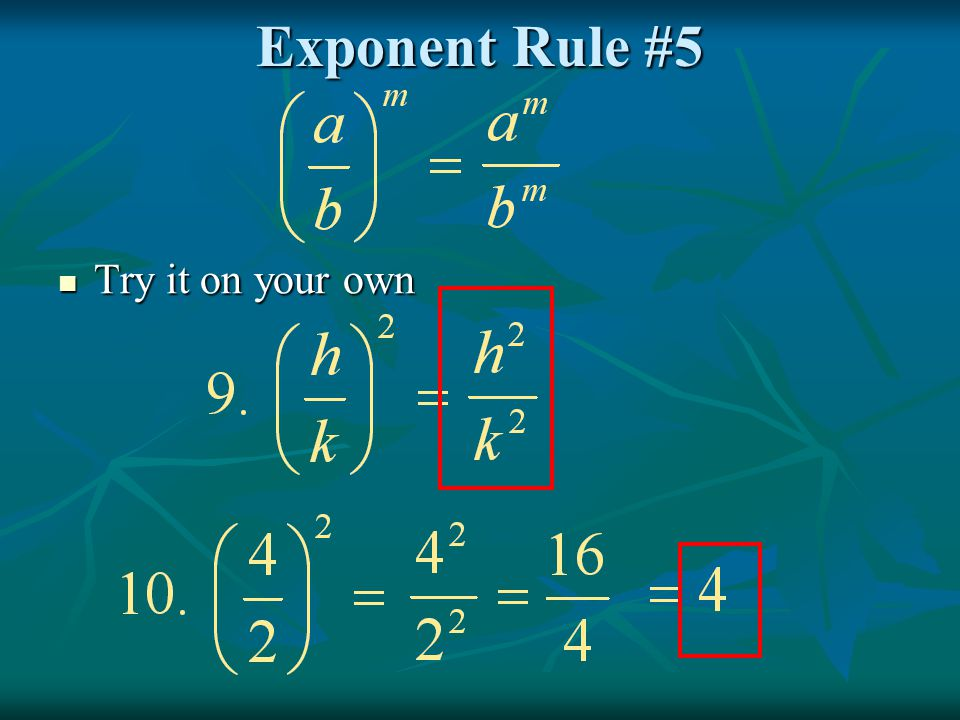 Exponent Rule #5 Try it on your own Try it on your own