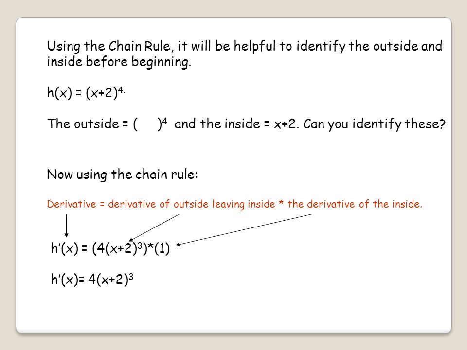 Using the Chain Rule, it will be helpful to identify the outside and inside before beginning.