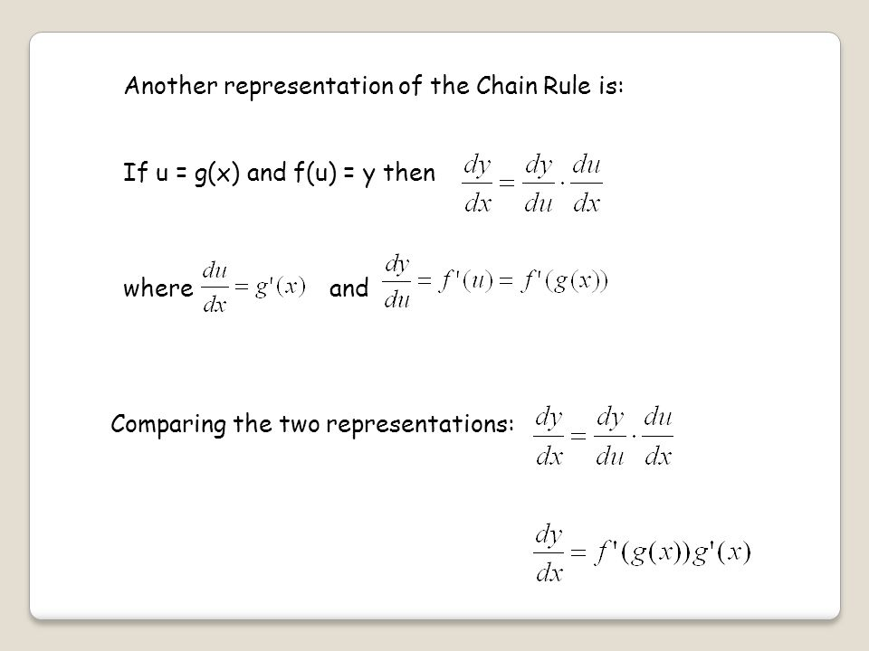 Another representation of the Chain Rule is: If u = g(x) and f(u) = y then where and Comparing the two representations: