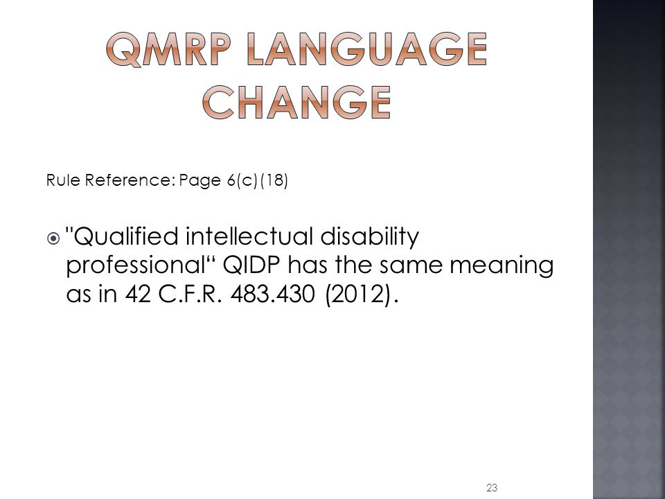 Rule Reference: Page 6(c)(18)  Qualified intellectual disability professional QIDP has the same meaning as in 42 C.F.R.