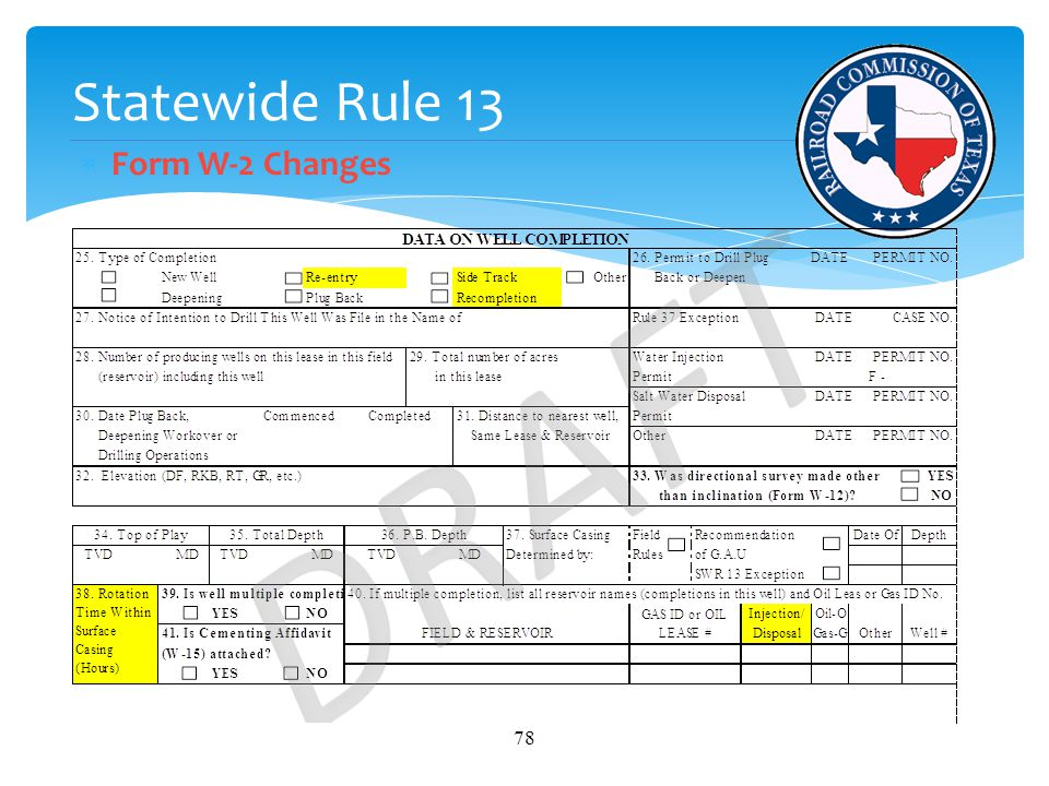 Statewide Rule 13  Form W-2 Changes 78
