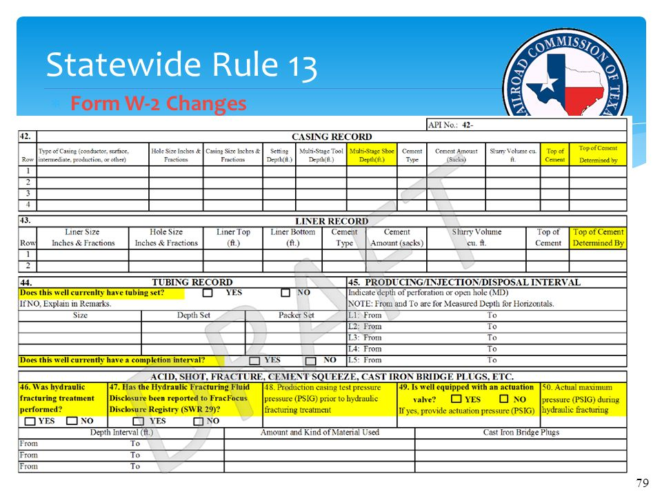 Statewide Rule 13  Form W-2 Changes 79