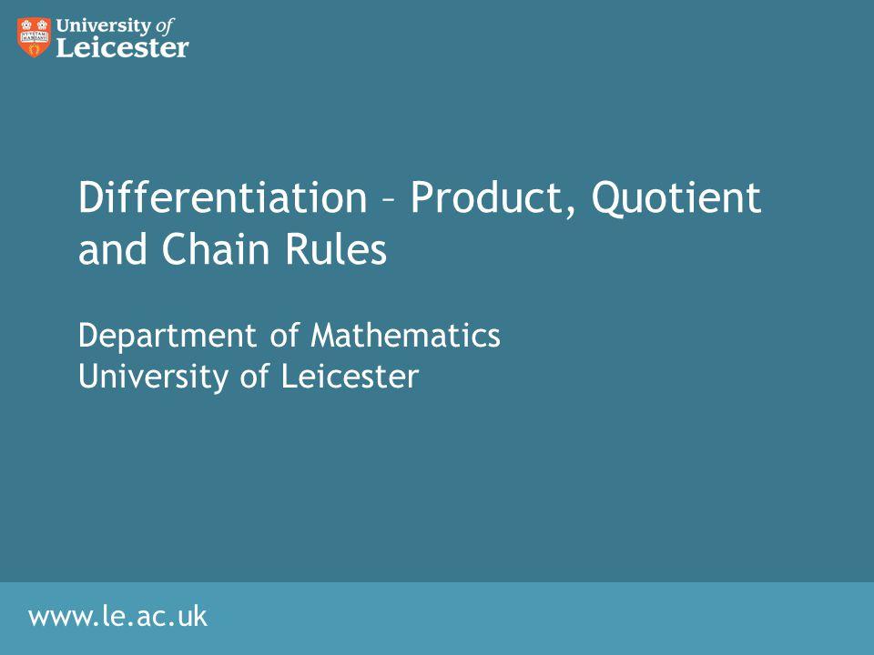 Content Product Rule Quotient Rule Chain RuleInversion RuleIntroduction