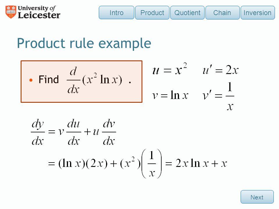 Differentiate Product Quotient ChainInversion Intro