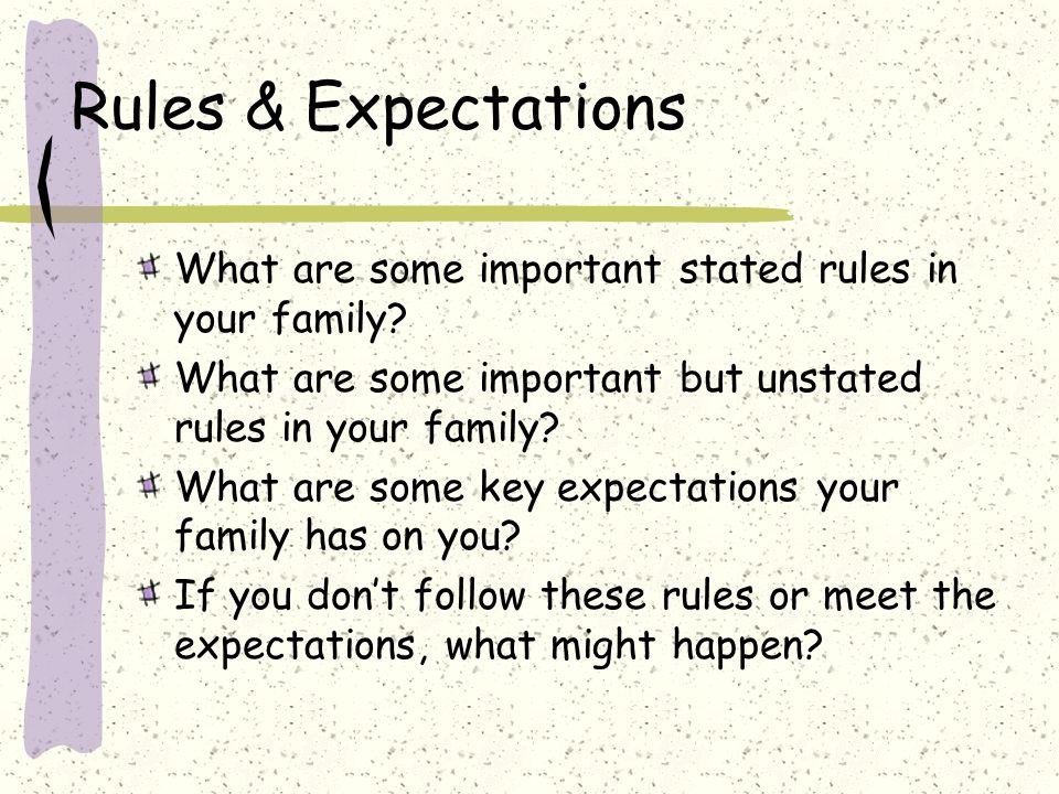 Rules & Expectations What are some important stated rules in your family.