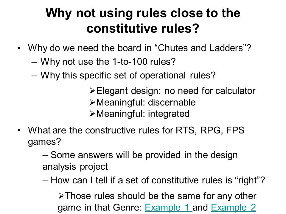 Why not using rules close to the constitutive rules.